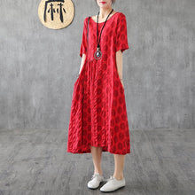 Load image into Gallery viewer, Bohemian red dotted cotton quilting clothes patchwork o neck loose summer Dress