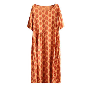 Bohemian red dotted cotton quilting clothes patchwork o neck loose summer Dress