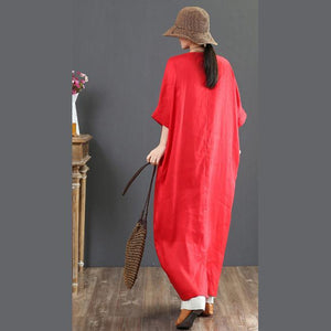 Bohemian red linen clothes Omychic Shirts v neck batwing sleeve long Summer Dress