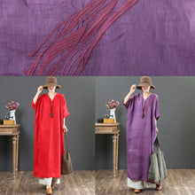 Load image into Gallery viewer, Bohemian red linen clothes Omychic Shirts v neck batwing sleeve long Summer Dress