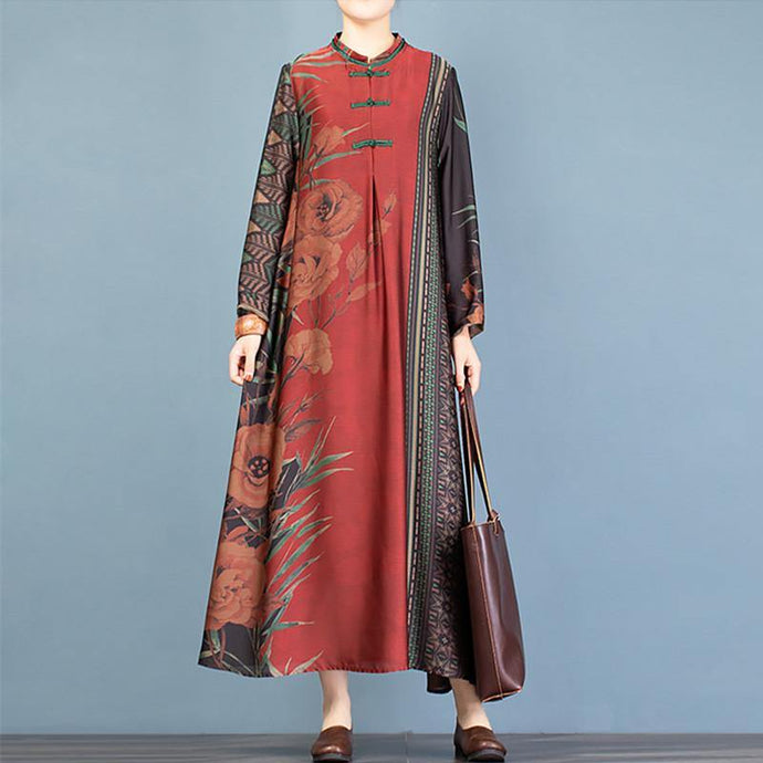 Bohemian red print clothes stand collar Chinese Button robes Dress
