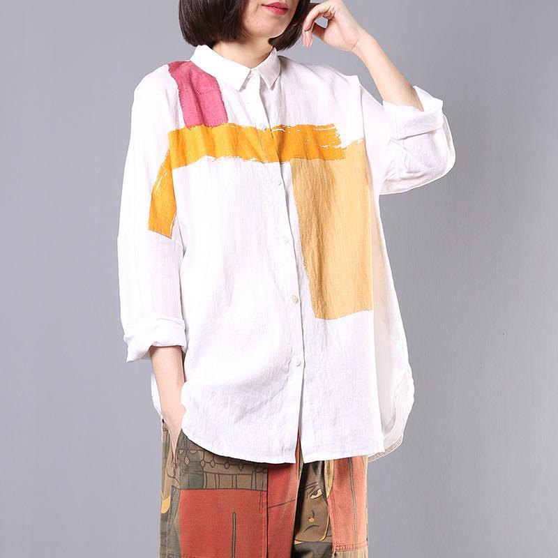 Bohemian side open linen tops women blouses Cotton white patchwork color shirts fall