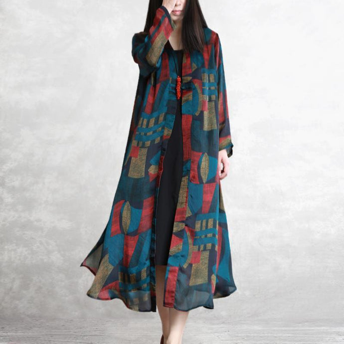 Bohemian silk cardigan Organic Wardrobes blue prints Maxi coat summer