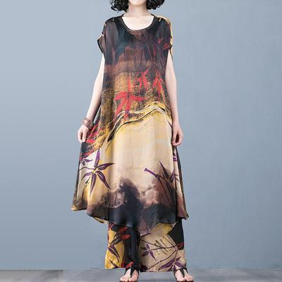 Bohemian silk dresses Korea Fashion Loose Printed Two Piece Set