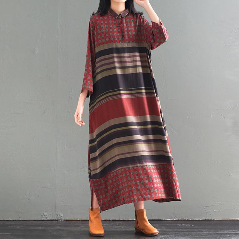 Bohemian silk quilting dresses Mom Loose Stripe Retro Maxi Dress With Vest