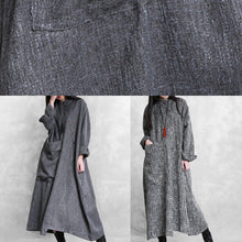 Load image into Gallery viewer, Bohemian stand collar asymmetric linen clothes For Women Online Shopping gray Dresses