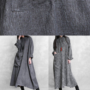 Bohemian stand collar asymmetric linen clothes For Women Online Shopping gray Dresses