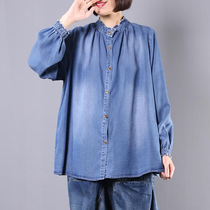 Bohemian stand collar cotton Blouse Fabrics blue top fall