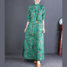 Laden Sie das Bild in den Galerie-Viewer, Bohemian stand collar cotton quilting clothes plus size Catwalk green floral loose Dress