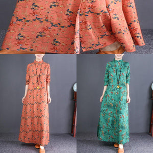 Bohemian stand collar cotton quilting clothes plus size Catwalk green floral loose Dress