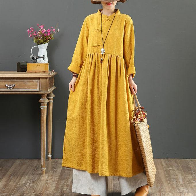 Bohemian stand collar linen Robes Shirts yellow Dresses fall