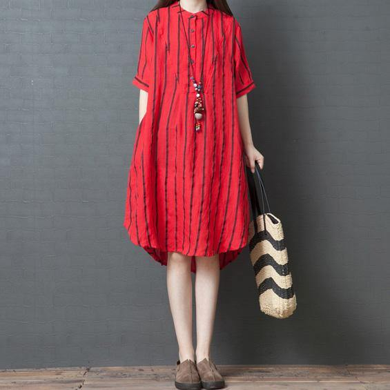 Bohemian stand collar pockets linen clothes For Women Wardrobes red striped Dresses summer