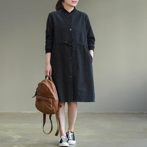 Bohemian tie waist Cotton clothes Women Korea Work black striped baggy Dresses spring