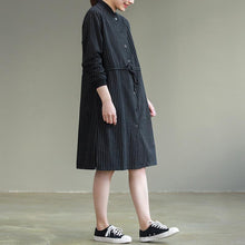 Laden Sie das Bild in den Galerie-Viewer, Bohemian tie waist Cotton clothes Women Korea Work black striped baggy Dresses spring