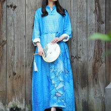 Laden Sie das Bild in den Galerie-Viewer, Bohemian tie waist linen Long Shirts Tutorials blue prints Dresses fall