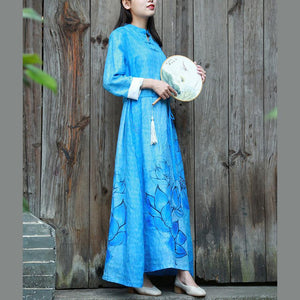 Bohemian tie waist linen Long Shirts Tutorials blue prints Dresses fall