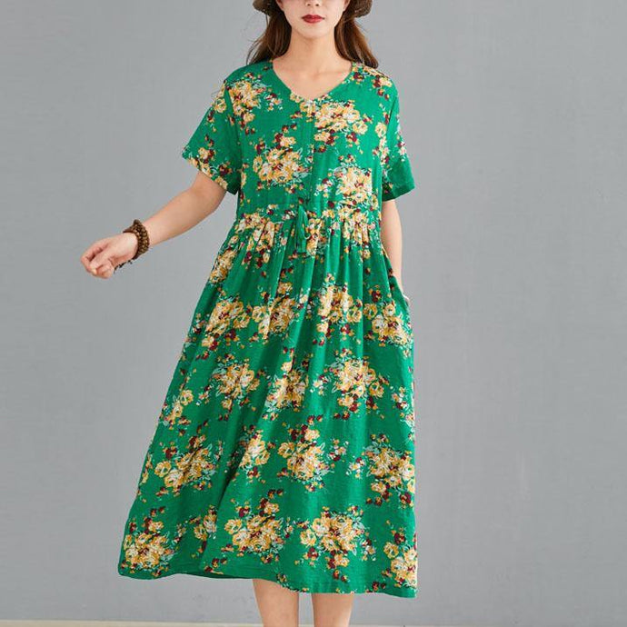 Bohemian v neck drawstring linen cotton Tunic Neckline green print Dress summer