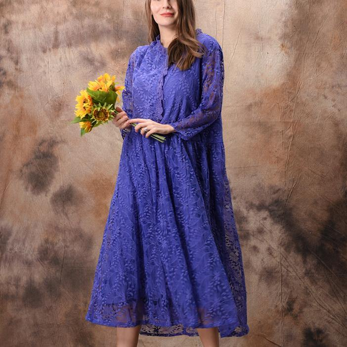 Bohemian v neck false two pieces lace top Fun Shirts blue loose Dress Summer