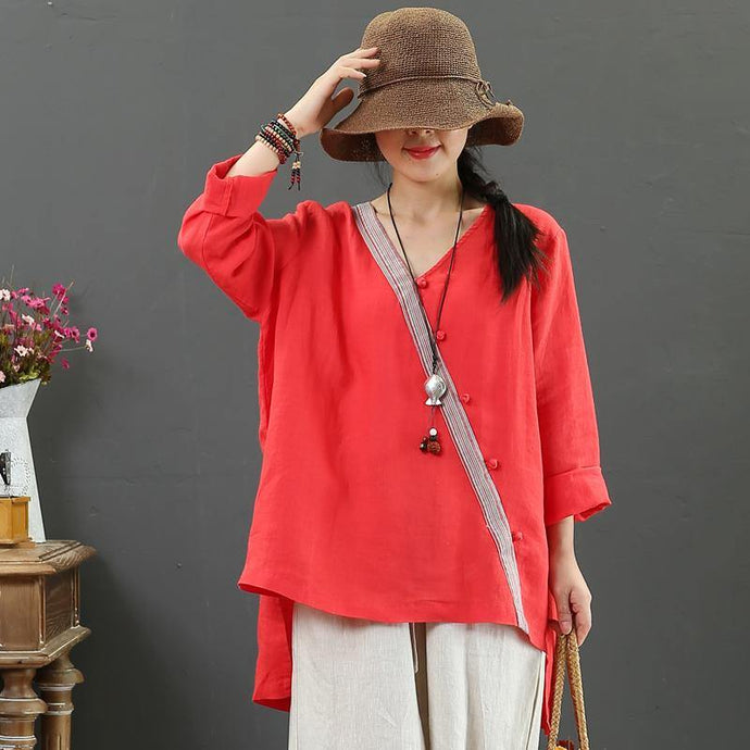 Bohemian v neck side open linen shirts women Outfits red top fall