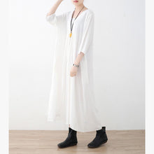 Load image into Gallery viewer, Bohemian white chiffon clothes For Women 18th Century Inspiration Square Collar wrinkled Maxi  Dresses