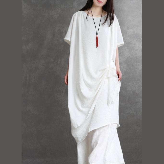 Bohemian white clothes For Women o neck wrinkled pockets summer Dress