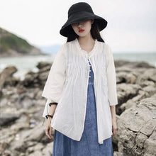 Load image into Gallery viewer, Bohemian white cotton linen clothes Shape Ruffled cardigan summer
