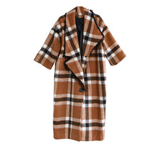 Load image into Gallery viewer, Boutique Plaid Long Woolen Coat Plus Size Wool Trench Coat 2021 Original Design Trench Coat