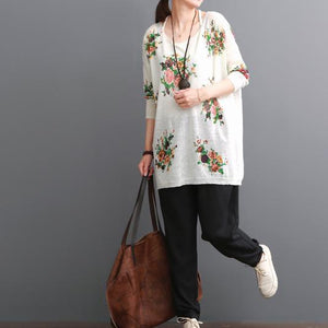 Breathy white floral women blouse summer shirts top