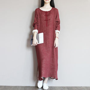 Brick red linen dress for summer caftan maxi dresses