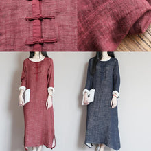 Laden Sie das Bild in den Galerie-Viewer, Brick red linen dress for summer caftan maxi dresses