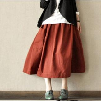 Brick red linen cotton baggy skirts vintage top quality casual skirts