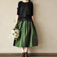 Load image into Gallery viewer, Brick red linen cotton baggy skirts vintage top quality casual skirts