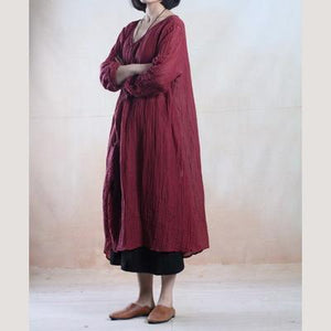 Brick red linen dresses  stylish traveling dress top quality fabric