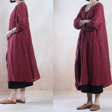 Laden Sie das Bild in den Galerie-Viewer, Brick red linen dresses  stylish traveling dress top quality fabric