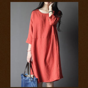 Brick red linen summer dress with with Three Quarter Sleeves