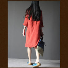 Load image into Gallery viewer, Brick red linen summer dress with with Three Quarter Sleeves