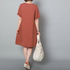 Brick red linen sundress asymmetric buttons down shift dresses-will be available soon