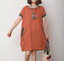 Load image into Gallery viewer, Brick red summer cotton dress short sleeve linen shift dress