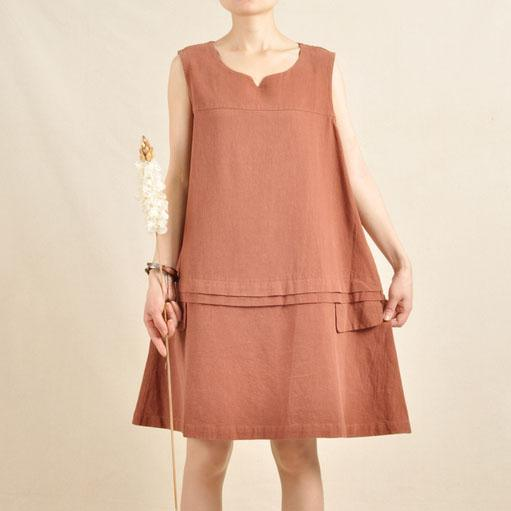 Brick red sundress oversize dress linen shirt top sleeveless