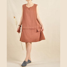 Load image into Gallery viewer, Brick red sundress oversize dress linen shirt top sleeveless