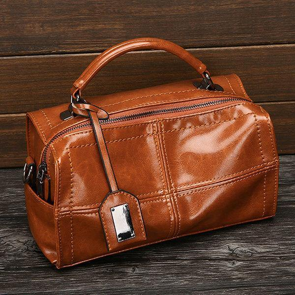 Brown PU Leather Handbag Retro Oil Leather Crossbody Bag