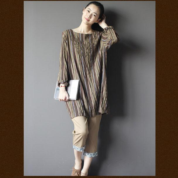 Brown Retro embroideried shift dress shirt plus size