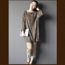 Load image into Gallery viewer, Brown Retro embroideried shift dress shirt plus size