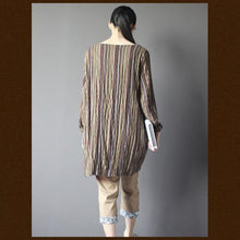 Laden Sie das Bild in den Galerie-Viewer, Brown Retro embroideried shift dress shirt plus size