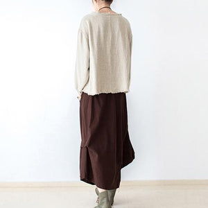 Brown asymmetrical linen skirts oversized maxi skirts pants