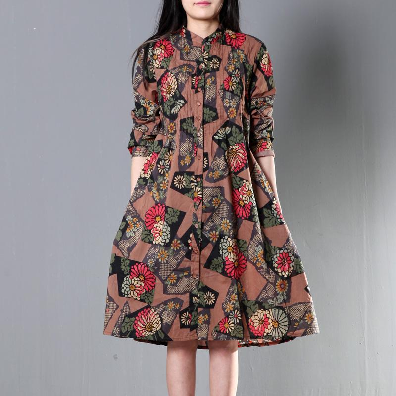 Brown cotton spring dress plus size shift dresses
