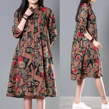 Load image into Gallery viewer, Brown cotton spring dress plus size shift dresses
