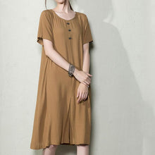Load image into Gallery viewer, Brown cotton dress for summer plus size summer dresses breathy  sundress shirt maternity dresses
