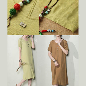 Brown cotton dress for summer plus size summer dresses breathy  sundress shirt maternity dresses