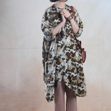 Load image into Gallery viewer, Brown floral asymmetric long sundress maxi dresses long shirt caftan cotton